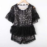Fashion 2013 JORYA ruffle dress cutout crochet lace short-sleeve top shorts set female