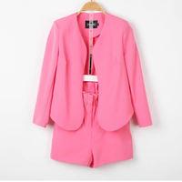 Female autumn small ladies sweet elegant ol slim suit jacket small high waist shorts set