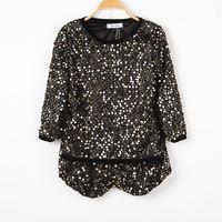 Autumn women's fashion gold bling top shorts casual set