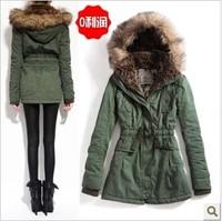 Outerwear cotton-padded jacket wadded jacket large fur collar tooling medium-long Army Green overcoat bershka