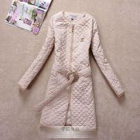 2013 women's outerwear vintage small slim waist slim medium-long cotton-padded jacket 3