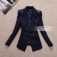 Ol women's autumn outerwear leather slim medium-long blazer