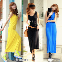 2013 summer women's f4009 fashion brief modal cotton solid color sleeveless jumpsuit full dress