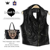 2013 autumn fashion personality PU zipper turn-down collar short slim design leather vest x1621