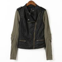 Autumn new arrival 2013 patchwork leather clothing oblique zipper female long-sleeve short jacket plus size available 343