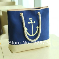 Bags female women's bags vintage women's canvas bag big bag with sea anchor sign
