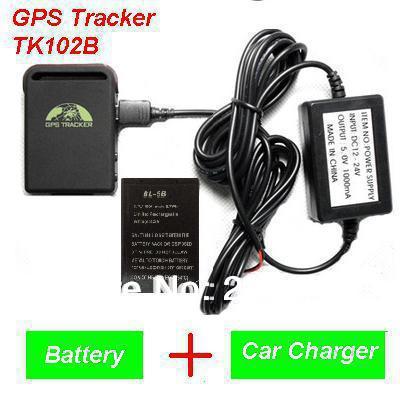 5 stück 2013 neuankömmling gps tracker tk102b + Auto ladegerät + battery+retail box, versandkostenfrei