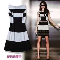 2013 summer women's ab31225 fashion brief elegant chiffon slim black and white lattice sleeveless one-piece dress