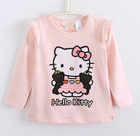 Kids clothing retail 2013 Spring and autumn new girls cartoon long-sleeve T-shirt hello kitty t-shirt Free shipping