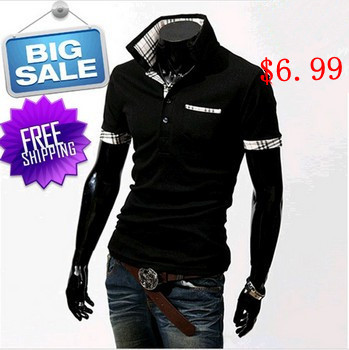 Big sale! New 2014 grid color matching men's cultivate one's morality short sleeve shirts(China (Mainland))