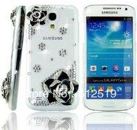 Luxury Crystal Diamond Rhinestones Camellia Transparent Back Hard Protective Case Cover For Samsung Galaxy S4 / IV mini I9190
