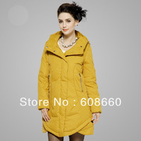 free ship new 2013 fashion design women's white duck down filling medium-long jacket solid color female winter coat plus size