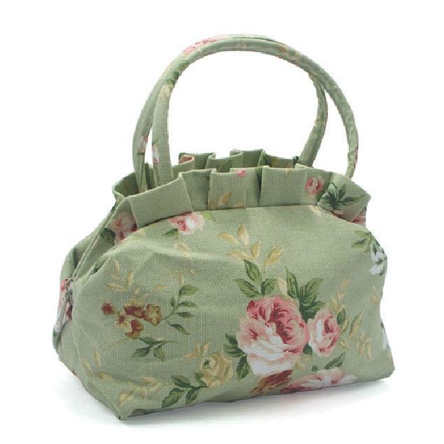 new arrival dumpling shape fashion bags canvas women handbags Korean style print ruched vintage double handle portable totes(China (Mainland))