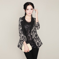 2013 outerwear decorative pattern V-neck short jacket spring and autumn female blazer 3q09 all-match