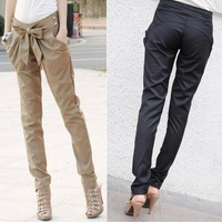 CHIC WELL Women Harem Skinny Long Trousers OL Casual Slim Bow Pants GWF-35268