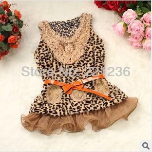 Free shipping plush Leopard dress children coat wool sweater vest dress fashion girl dress for 3-6 years(China (Mainland))