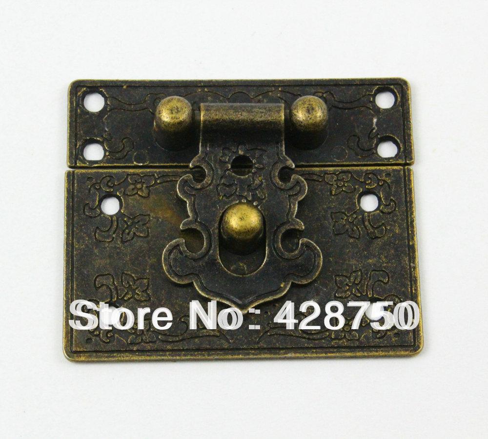 Antique Brass Jewelry Box Hasp Latch Lock 55x47mm with Screws(China (Mainland))