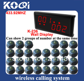 433.92mhz quick cafe call bell system of 1 counter service display and 30 black waiter call bell (K-236+M) DHL free shipping