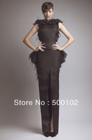 Glamorous Brown Bateau Keyhole Back Slit Peplum Feather Evening Dresses