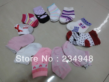 2013 HOT Selling 100% cotton Cute Cartoon Animal Cotton Short Socks Cartoon Infant Baby Boy AND Girl Sock Kids Socks Multicolor