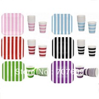 "Free Shipping EMS/DHL/FEDEX 720Pcs 9oz Striped Paper Drinking Cups 720pcs 7"" Paper plates Set PURPLE PINK RED GREEN BLUE BLACK"