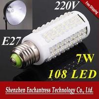FreeShipping 5Pcs/Lot Energy saving 7W warm white/white led lighting AC 220-240V 108 LED E27 led bulb lamp Corn Light Bulb