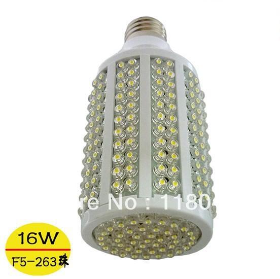 Free Shipping Hot sale E27 E14 B22 16w led corn light 5mm dip 263chips AC85-265V led bulb led lamp led spot light CE RoHS(China (Mainland))