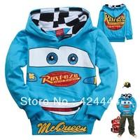 New design 2013 fashion autumn cute design car pullover hooded sweatshirt jacket children kids toddler boys blue hoodies