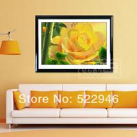 Simple diy rhinestone pasted painting 5d yellow rose cross stitch diamond painting round diamond