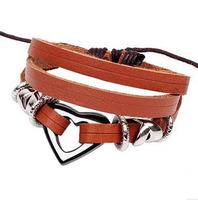 Korean Delicate Peach Heart Beads Cowhide Bracelets Health Black Gallstone Genuine Leather Jewelry Free Shipping HeHuanSLQ085