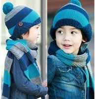 2colors Free shipping winter children hats+scarf sets baby pocket beanie boy earflap girl skullcap retail Lc13083002