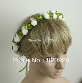 1X Rose Flowers Artificial Garland Bridal Headdress Headband Wedding Party Beach