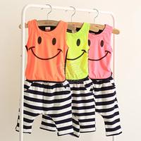 2013 summer smiley boys clothing girls clothing baby vest capris set tz-0853