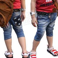 2013 summer stripe boys clothing girls clothing baby child 5 denim pants kz-0761