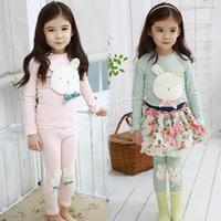 2013 autumn rabbit girls clothing baby child long-sleeve set tz-0910