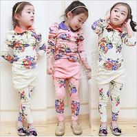 2013 autumn print paragraph gentlewomen girls clothing baby child set tz-0454