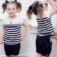2013 summer paragraph stripe girls clothing baby child short-sleeve shorts set tz-0735