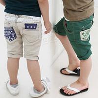2013 summer unique pocket boys clothing baby child capris 5 pants kz-1838