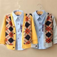 2013 spring and autumn plaid boys clothing baby child long-sleeve cardigan my-0082