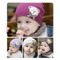 Free Shipping 6pcs/lot Free Size Cute Bear Cartoon Character Baby Beanie Kids Infant Hats Head Cap Children Accessories A0164