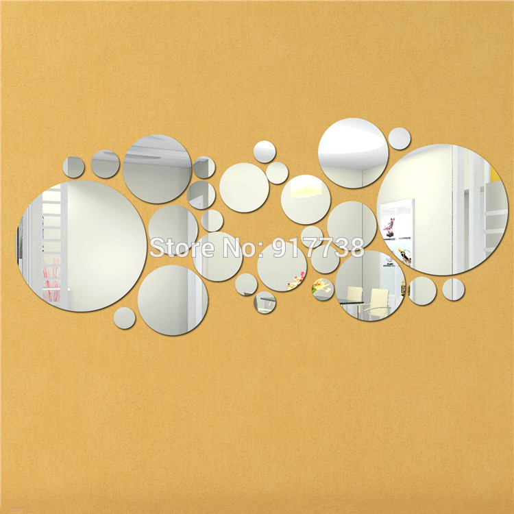 big size 28pcsset round diy mirror wall stickers home decoration wall paper diy circles hot design free shipping - Design Wall Mirrors