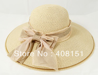 Quality Summer Fashion Big Circle Hemp material Bowknot Raffia Straw Hand-Framed Cowboy Flowers Travel Sun Hat - Sun Hat