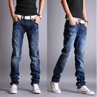Slim skinny jeans male 2013 retro finishing water wash small hole pants men's end-to-end