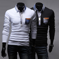 Men's clothing t-shirt repair male long-sleeve slim men's long-sleeve shirt collar bag gossip t