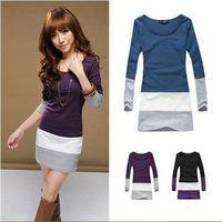 Women's Scoop Neck Slim Blouse Tops Soft Cotton Contrast Color One-Piece Dress