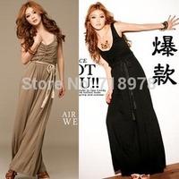 2014 new fashion summer sleeveless vest ultra long jumpsuit loosen sexy desiginer brand women jumpsuit free / Drop shipping