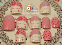 Doll milk square toe short design nail art patch excellent adhesive 24