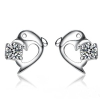 wholesale100% pure 925 sterling silver platinum dolphine crystal stud earrings fine jewelry HSR004
