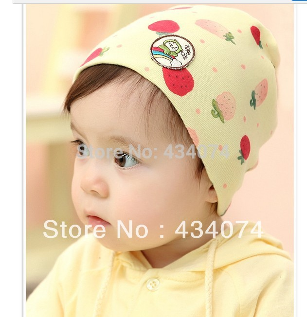 Free shipping brazil strawberry pattern Baby cap Kids Infant Hat Toddler cap Boys &Girls hat Skull Head Cap For 6-18month(China (Mainland))
