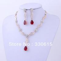 Crystal 18K gold Plated Noble Eaegance red crystal flower Jewelry Necklace Earring Set Made with Austrian Element Crystals